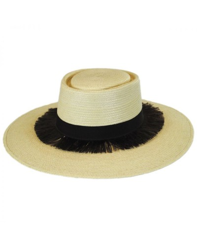 Brixton: Straw boat hat with Barcelona palm leaves
